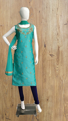 Turquoise and Blue Churidaar Suit