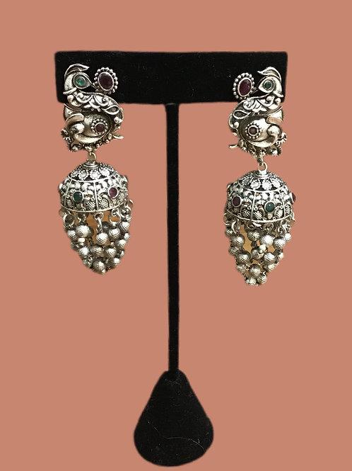 Beautiful German silver peacock Earring