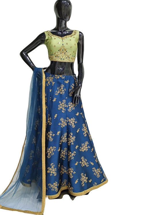 Blue Green Lehanga Choli