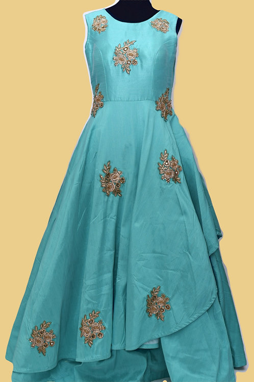 Cadet Blue Flare Gown