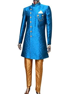 Designer Royal Blue Indo-Western Kurta Pajama