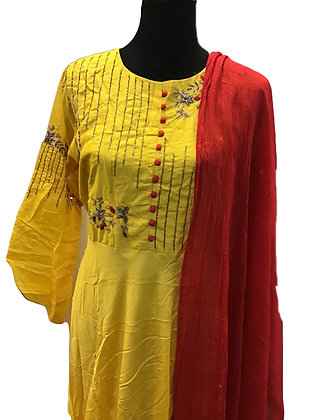 Yellow Floor Length 5xl kurta with dupatta