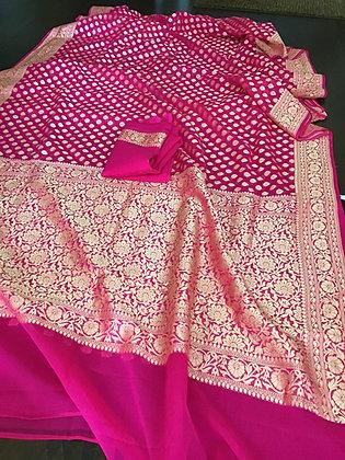 Gorgeous Banarasi Handloom khadi Georgette saree