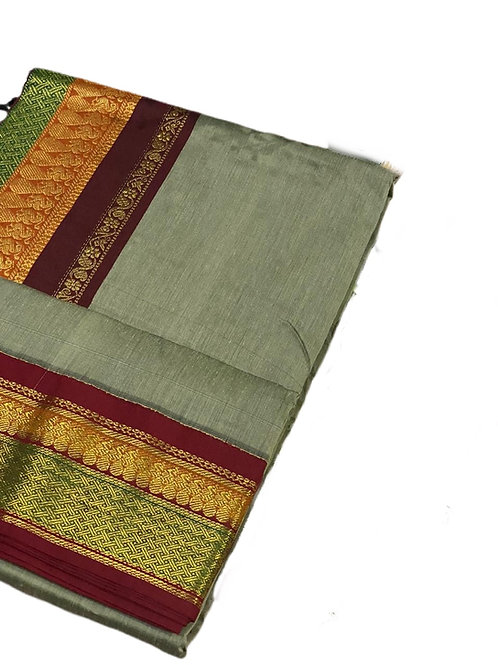Elegant Artichoke Green Handloom Cotton Silk Saree