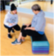 Personal trainer with client fit test