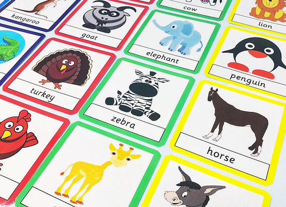 Zoo and Farm Animals - Flash Cards - Printable - Preschool - Nursery
