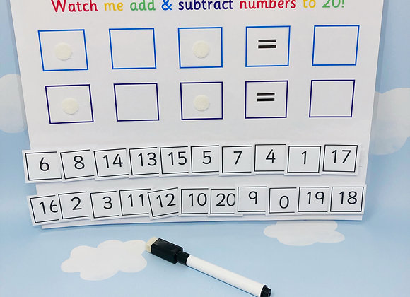 Add and Subtract Numbers to 20 - Learn Numbers - Learning Sheet - Reusable Works