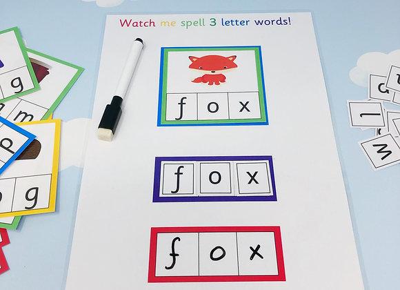 Spelling Set - Phonics Learning Sheets - Beginning Sounds - CVC Words - Phonics