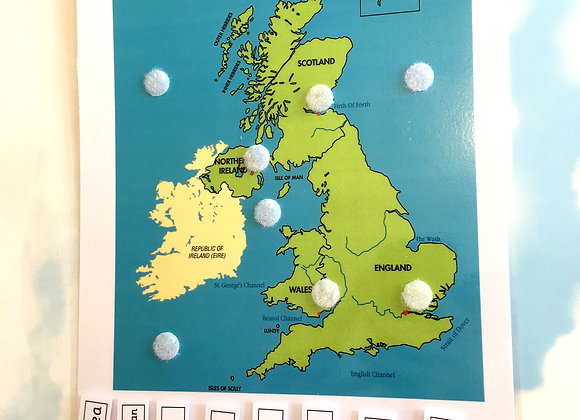 UK map with capital cities and seas learning sheet