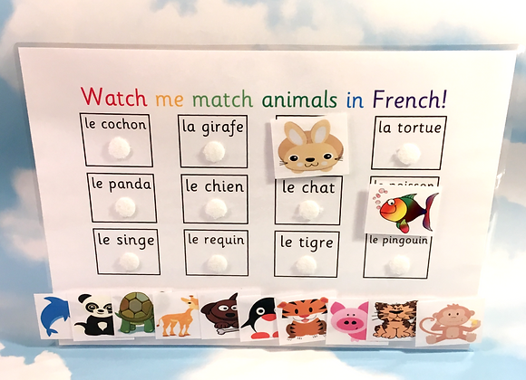 French Animals Learning Sheet