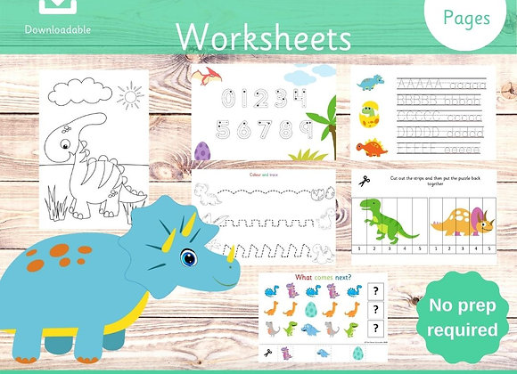 Dinosaur Bundle - 44 Pages of dino fun - Toddler Worksheets - Printable