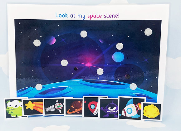 Alien Learning Sheet - Space Scene - Space Ship - Downloadable - Nursery