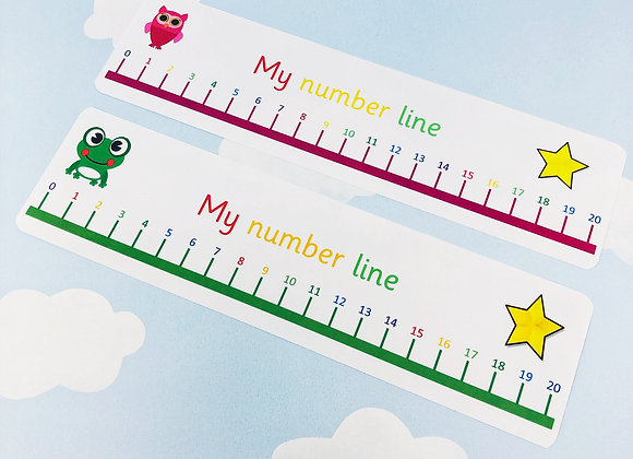 Number Line to 20 - In a choice of 2 colours