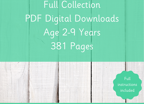 Full PDF Collection - Digital Downloads - Age 2-9 Years Old - 381 Pages