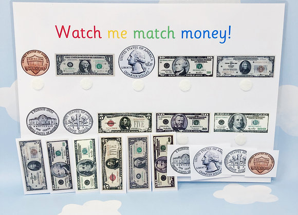 US Money Matching - Learning Dollars - US Coins - Money Worksheets