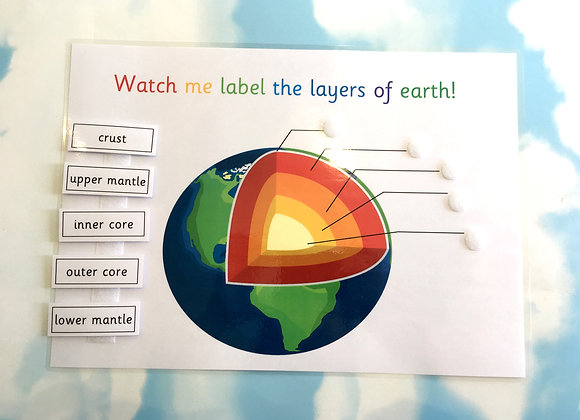 Layers of the Earth learning sheet