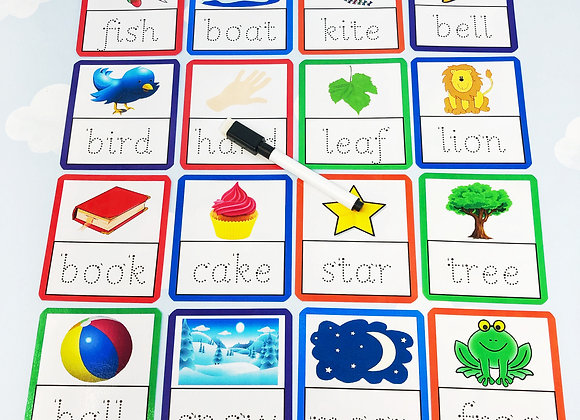 4 Letter Tracing Flash Cards