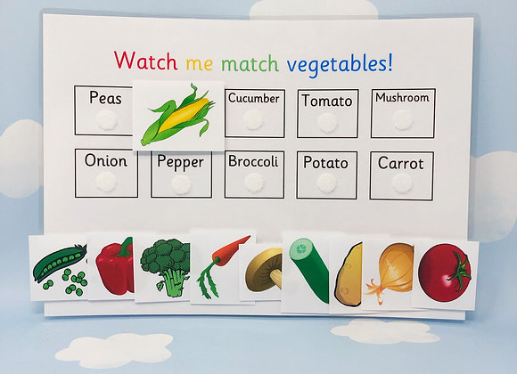 Vegetable Matching Activities - Learning Sheet - Matching Games - Reception