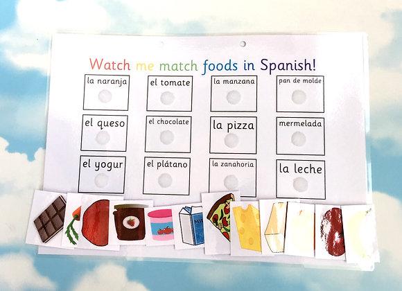 Spanish Foods Learning Sheet