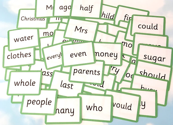 Year 2 Common Exception Words - Flash Cards