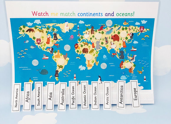 World Map - Continents and Oceans - Learning Sheet - Geography - KS1 - Seas
