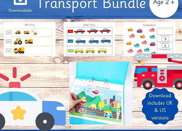 Transport Bundle for Toddlers - Preschool learning - Printable worksheets