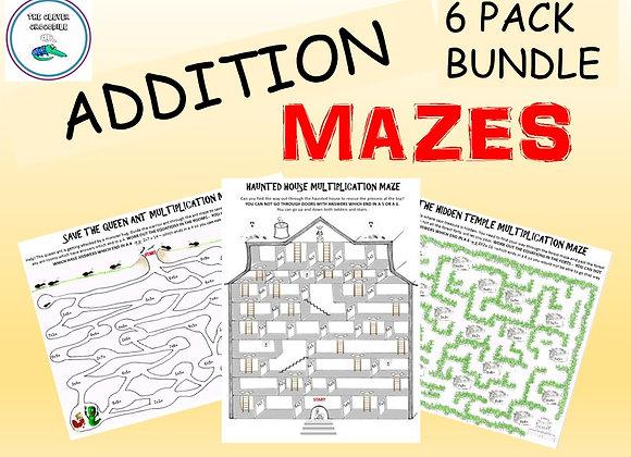 Addition Mazes: 6 Addition Mazes - They're aMAZEing