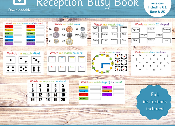 Reception Busy Book - Starting School - Home Schooling - Learning Sheets