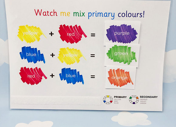Primary Colours - Mixing Colours - Learning Sheet - Learn Colours
