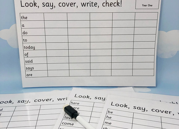 Year 1 Spellings - School Spellings - Common Exception Words - Spelling Sheets