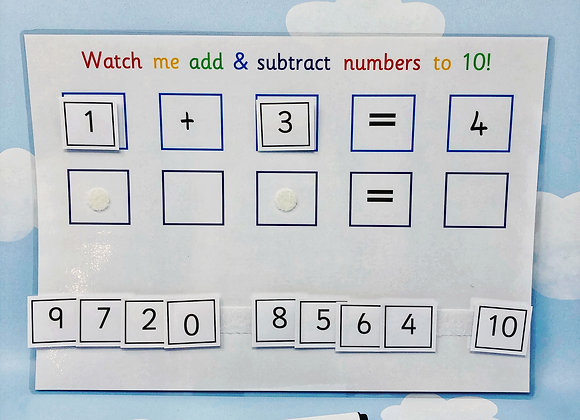 Add and Subtract Numbers to 10 - Learn Numbers - Learning Sheet - Reusable Works