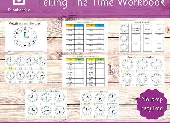 Telling the Time Workbook - Learn to tell the time - Downloadable