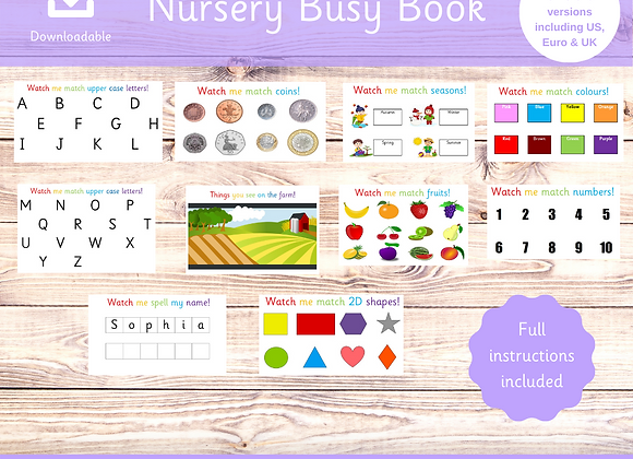 Nursery Binder UK Version- Busy Book - Preschool Activities - Activity Binder
