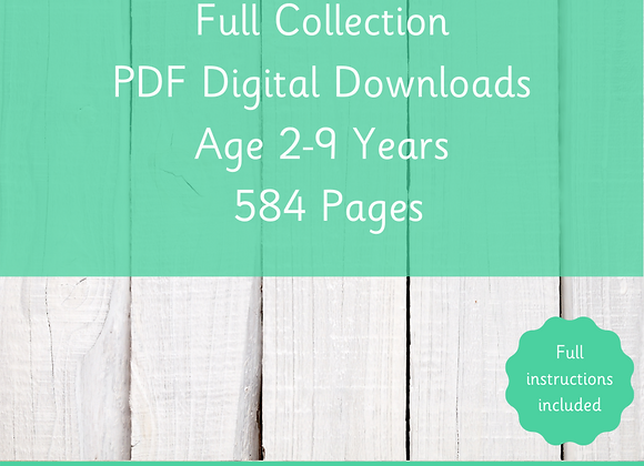 Full PDF Collection - Digital Downloads - Age 2-9 Years Old - 584 Pages