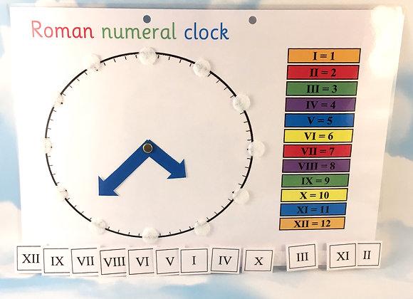 Roman Numeral Clock Learning Sheet