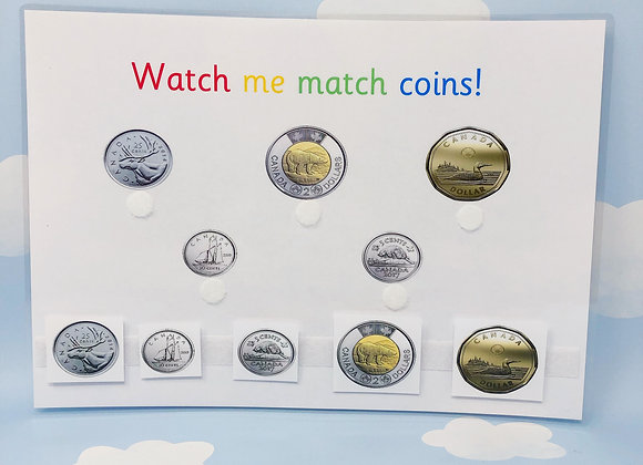 Canadian Money Matching - Learning Dollars - Canadian Coins - Money Worksheets