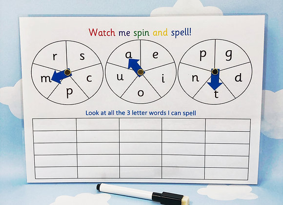 Spin and Spell - Learning Sheet - Spell 3 Letter Words - Literacy Resources