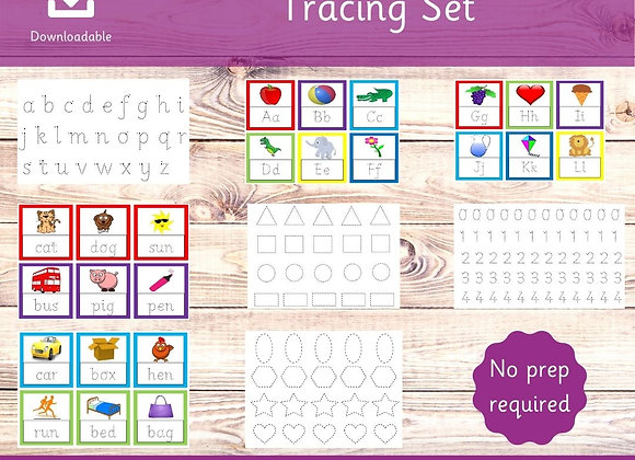 Tracing Set - No Prep - Toddler Tracing - Learning to write numbers - Letters