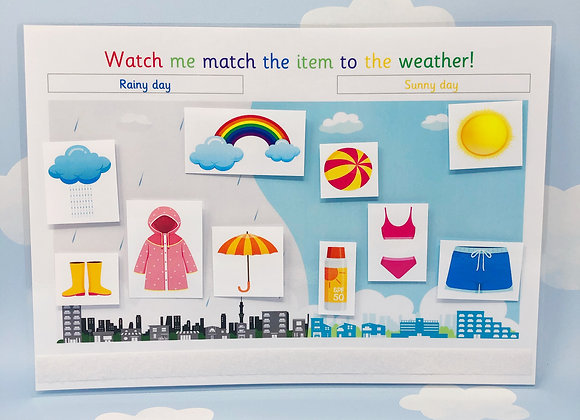 Weather Scene - Learning Sheet - Rainy Day - Sunny Day - Reusable Resources