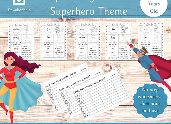 Reception Sight Word Activity Worksheets - Superhero Theme - High Frequency Word