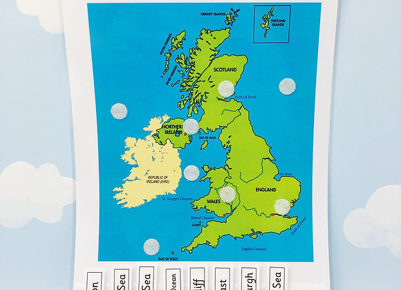 UK Map - Learning Sheet - Seas and Capital Cities - KS1 - Matching Game