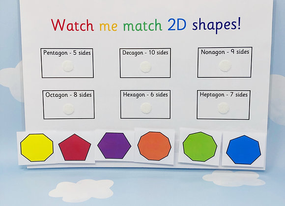 2D Shapes - Learning Sheet - KS1 - Year 1 - Year 2 - Educational Toy - Reusable