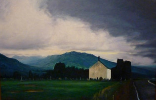 CHURCH, AND STORMY HIGHLAND VIEW