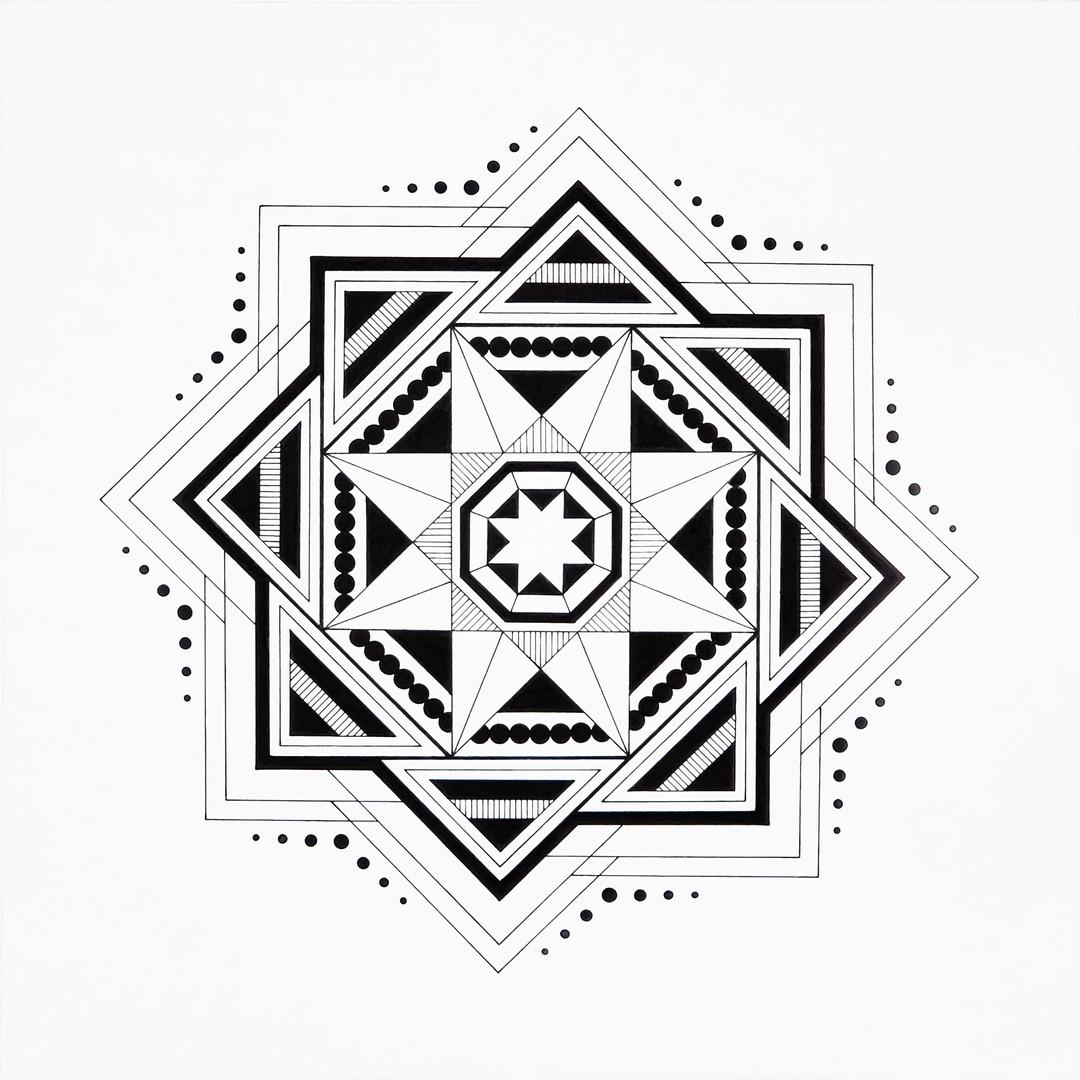 "Octagram | 2020 | 12""x12"" | Ink"