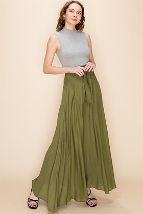 Flowy Maxi Skirt with Waist Tie