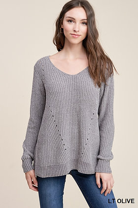 LT OLIVE CHENILLE SWEATER