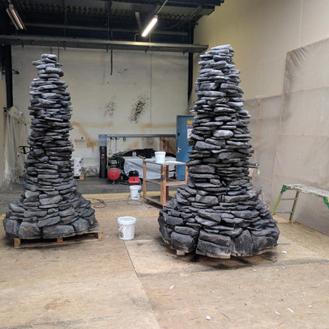 Life size stone cairn