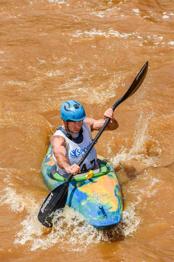 a man kayaking in Richmond, VA