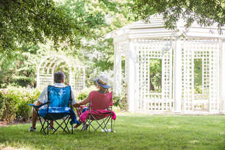 a couple enjoying the gardens at Lewis Ginter Botanical Garden