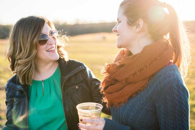 two women having beer at Lickinghole Creek Brewery in Virginia